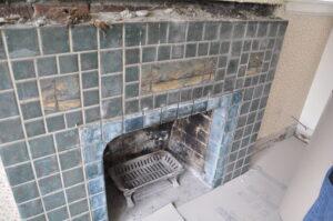 Batchelder tile fireplace in blue