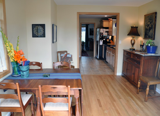 The New Wood Flooring In Dining Room Is Installed At Same Level As