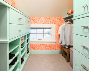 Across the hall, there is a new closet for the second bedroom.