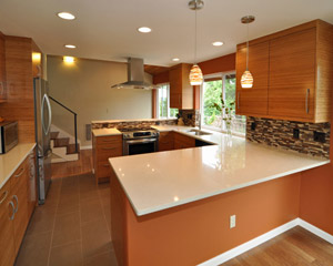 With a number of low-voltage and energy-efficient lights, including some recessed into open shelves, the lighting is controlled by a series of dimmers to set the mood perfectly.  It's a kitchen that's a pleasure to cook and entertain in, and with the finest finishes. kitchen remodel Seattle